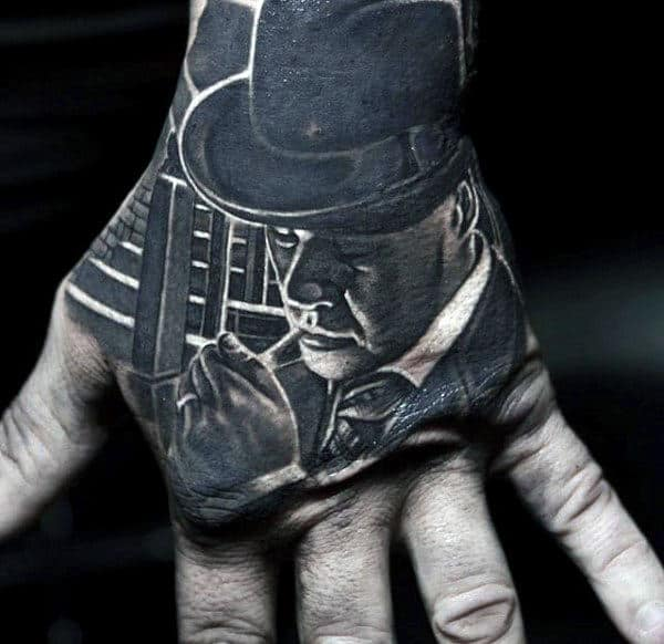 Mobster Amazing Realistic Guys Black And White Ink Hand Tattoo