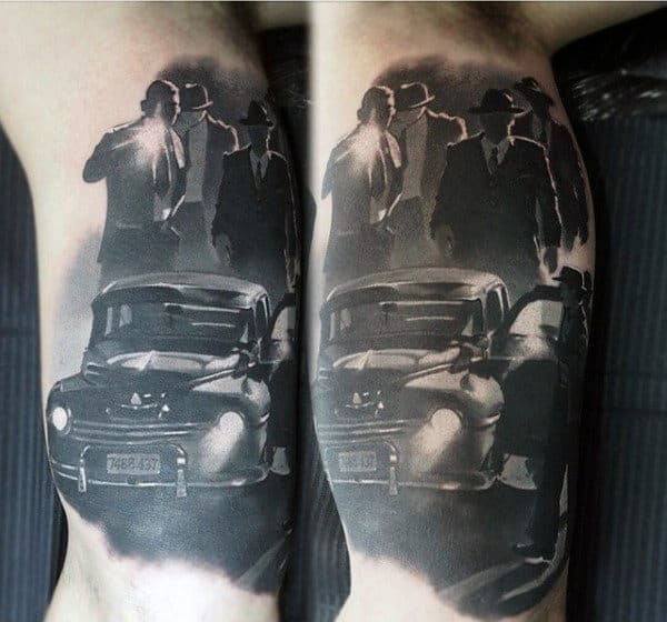 Mobster Inner Arm Mens Tattoo