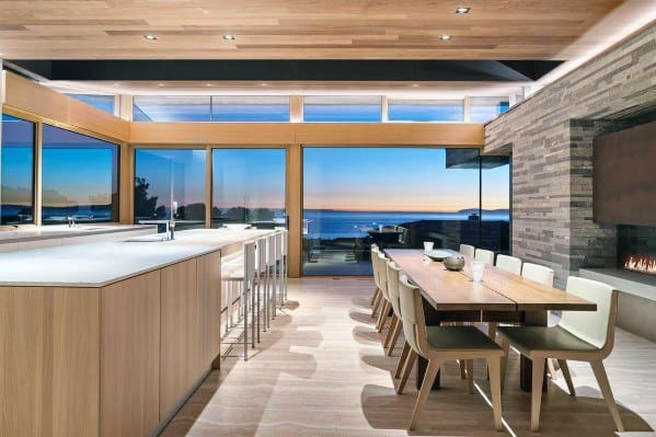 Moder Kitchen And Dining Room Open Concept Wood Ceiling Ideas