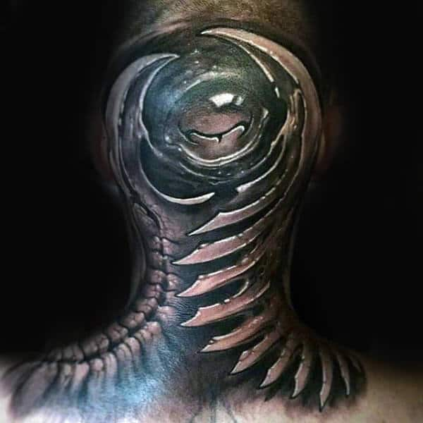 Modern 3d Guys Back Of Head And Shoulders Tattoo