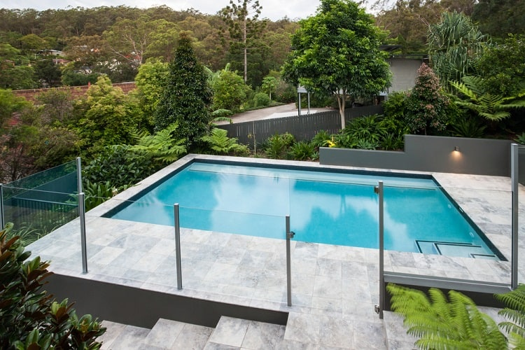 Modern Above Ground Pool Deck With Glass Fence