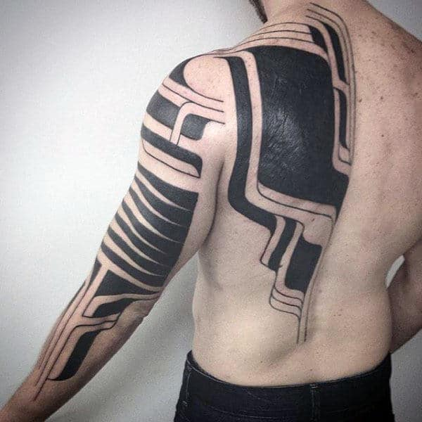 Modern Abstract Arm And Back Tribal Tattoos For Guys
