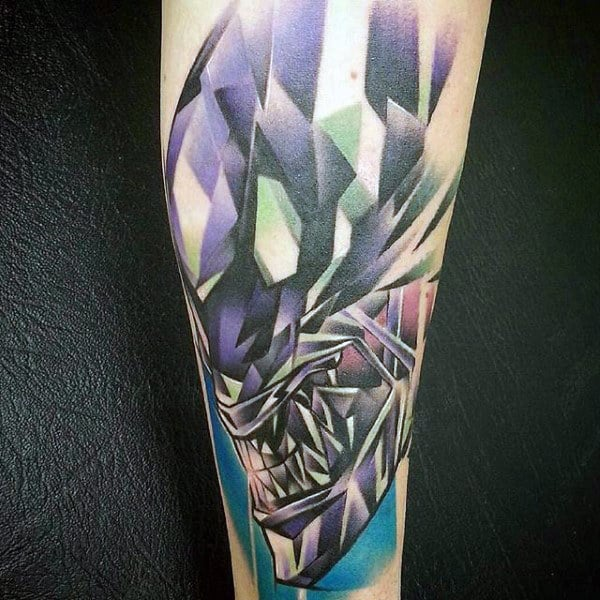 Modern Alien Mens Arm Tattoo Ideas With Watercolor Design