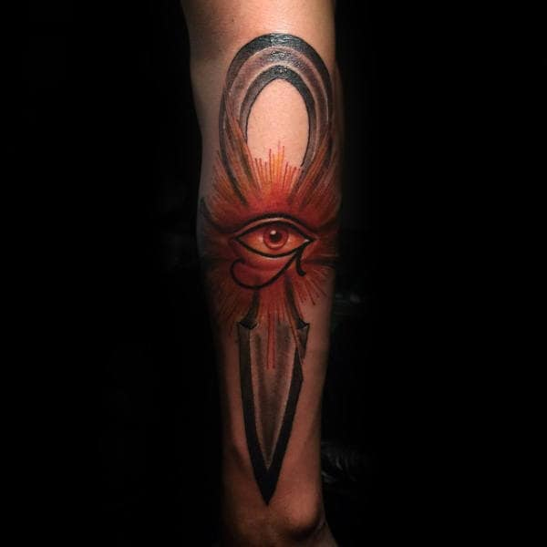 Modern Ankh With Eye Of Horus Tattoo On Male