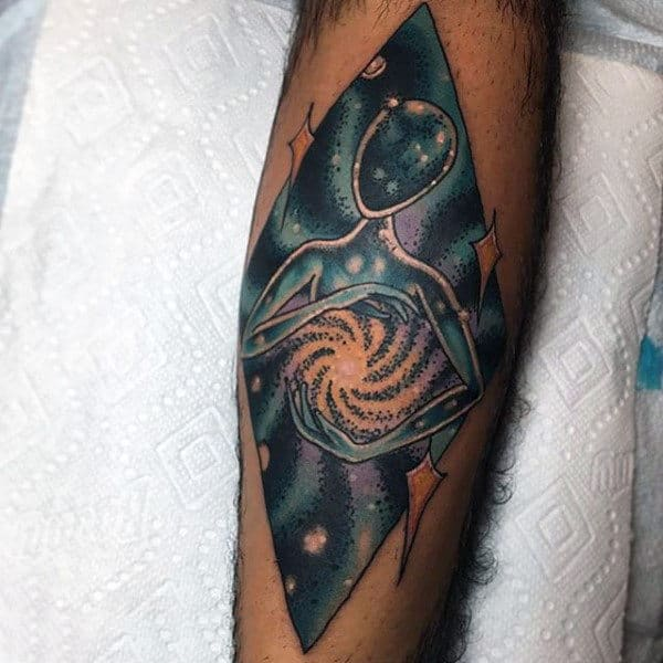 Modern Art Universe In My Hands Tattoo On Forearms For Men