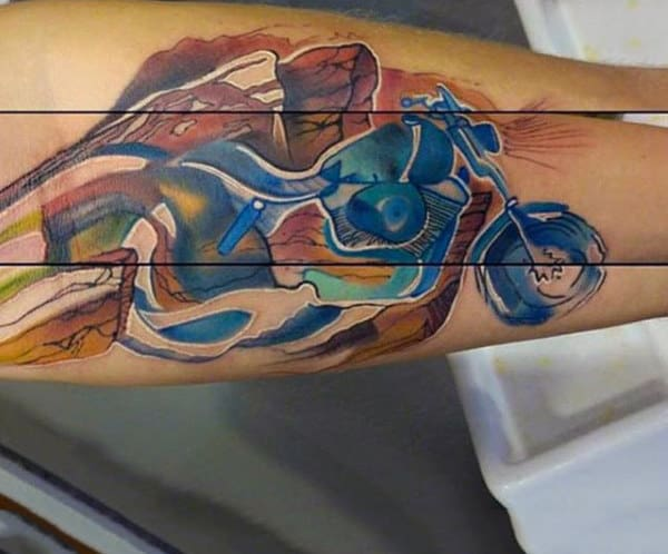 Modern Art Watercolor Tattoo On Forearm For Men