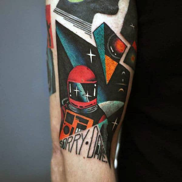 Modern Astronomy Tattoo Male Forearms