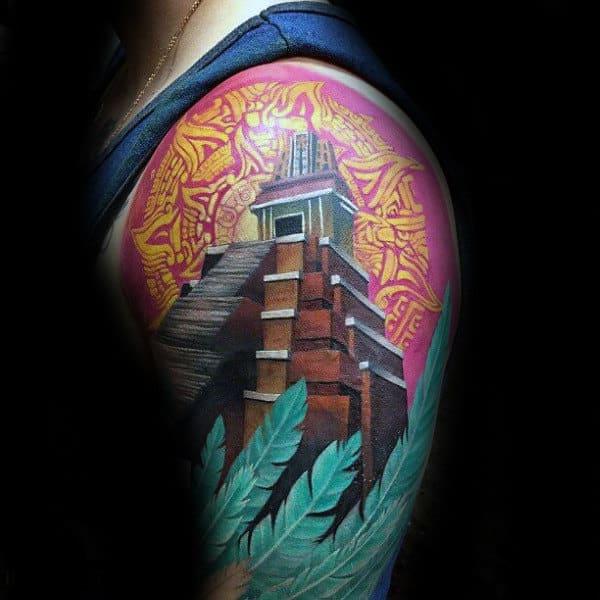 Modern Aztec Mens Half Sleeve Tattoo Ideas