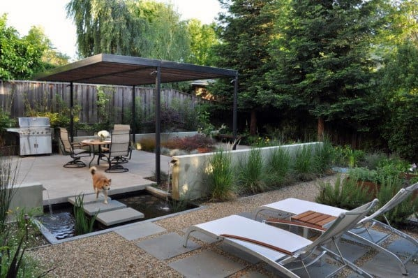 Modern Backyard Gravel Patio Design Inspiration