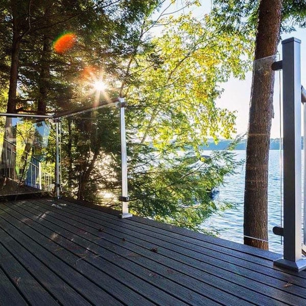 Modern Backyard Ideas For Deck Railing Large Glass Panels