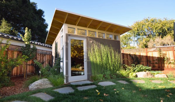 Modern Backyard Shed With Glass Windows And Door