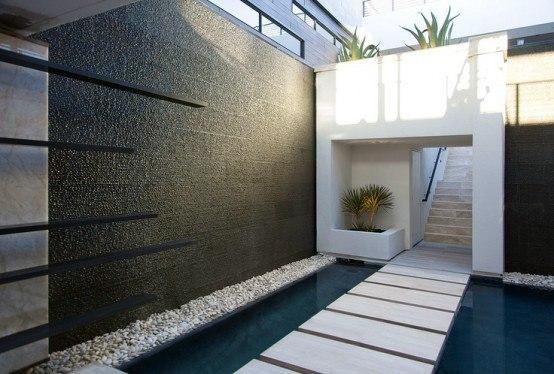 Modern Backyard Waterfall