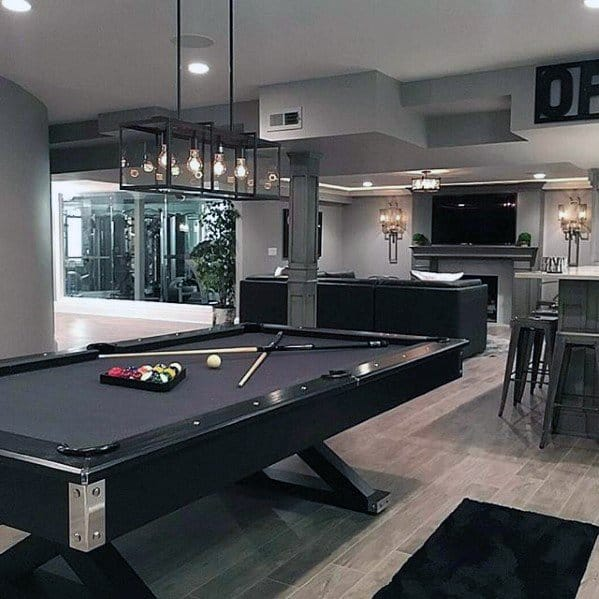 Modern Basement Man Cave With Pool Table