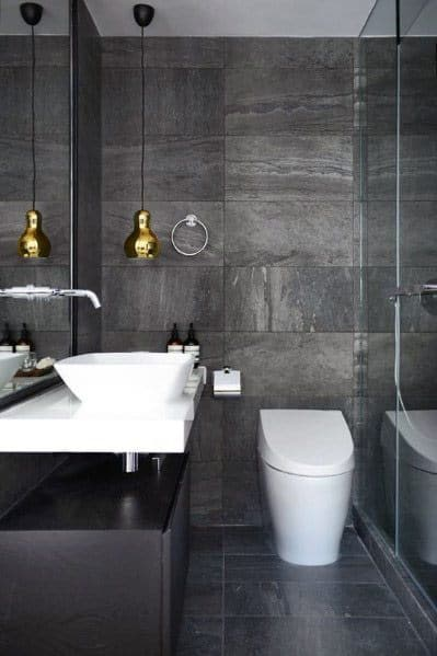 Modern Bathroom Interiors Grey Tile Floor And Wall Ideas
