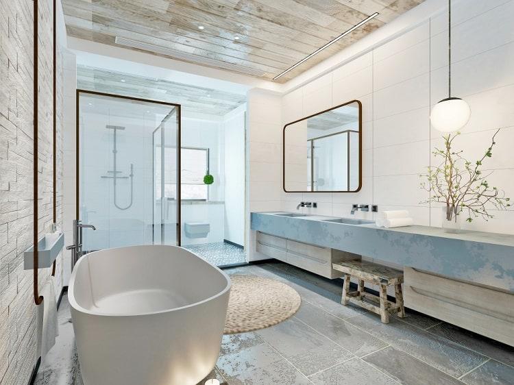 Modern Bathroom White Wall Wood Ceiling
