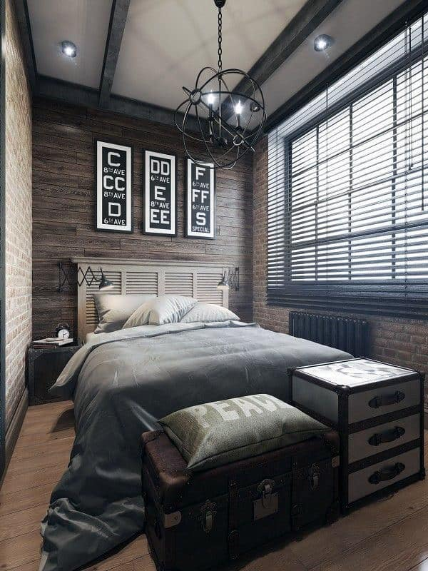 Moving further down the list of 30 masculine bedroom ideas, we find this urban bachelor heaven evoking an eclectic field of interests. The masculine vibe is reinforced with a leather and metal armchair and an inspiring mix of geometric patterns.