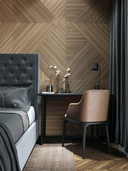 Amazing Modern Bedroom Wood Wall Ideas
