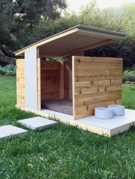 Modern Big Dog House Designs With Porch And Food Bowel Holders