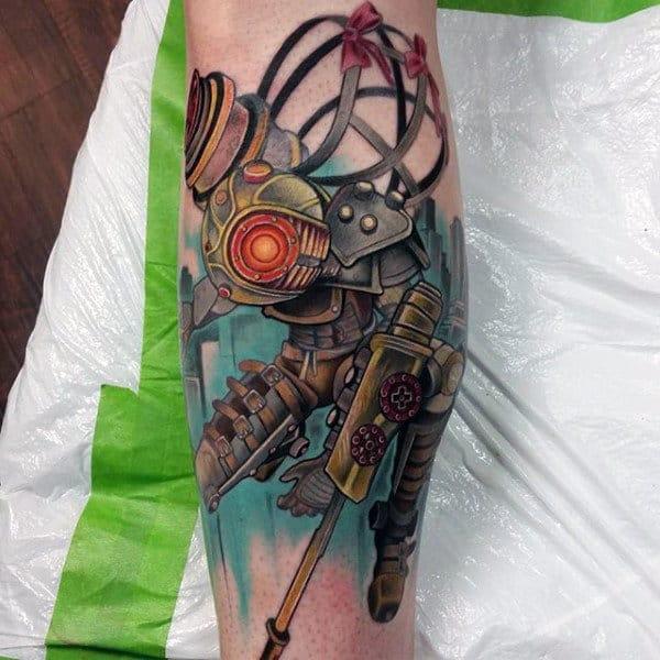 Modern Bioshock Guys Leg Tattoo Ideas