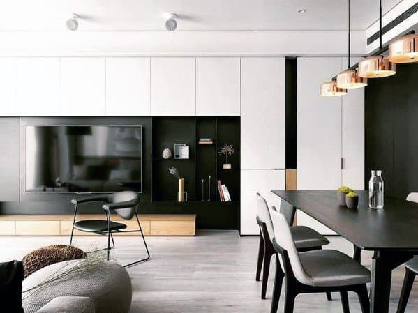Modern Black And White Tv Wall Cabinet Ideas