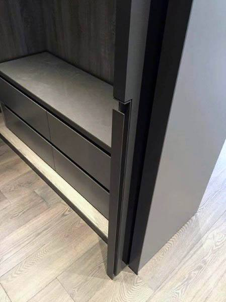 Modern Black Bedroom Closet Pocket Door Design Inspiration