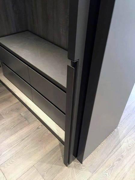 Modern Black Bedroom Closet Pocket Door Design Inspiration