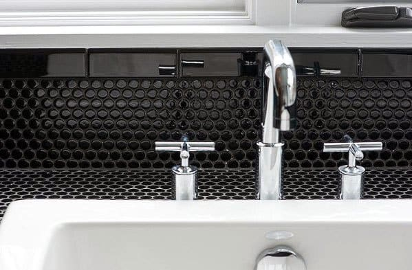 Modern Black Circle Tile With Black Grout White Sink Backsplash Ideas For Bathroom