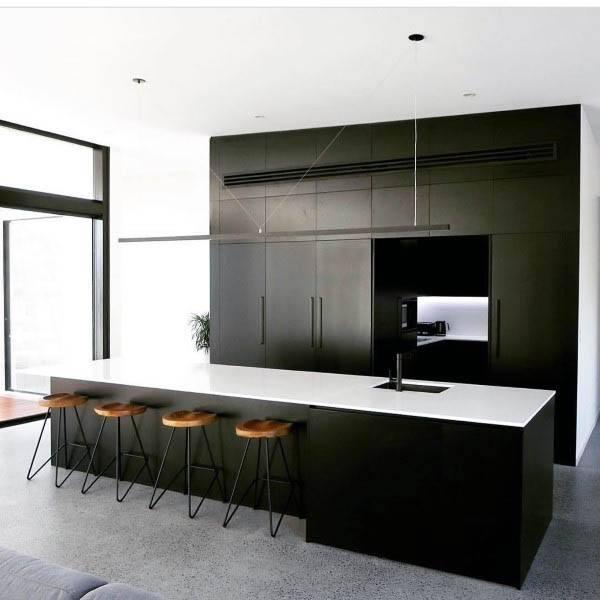 Modern Black Kitchen With White Countertop Design Ideas