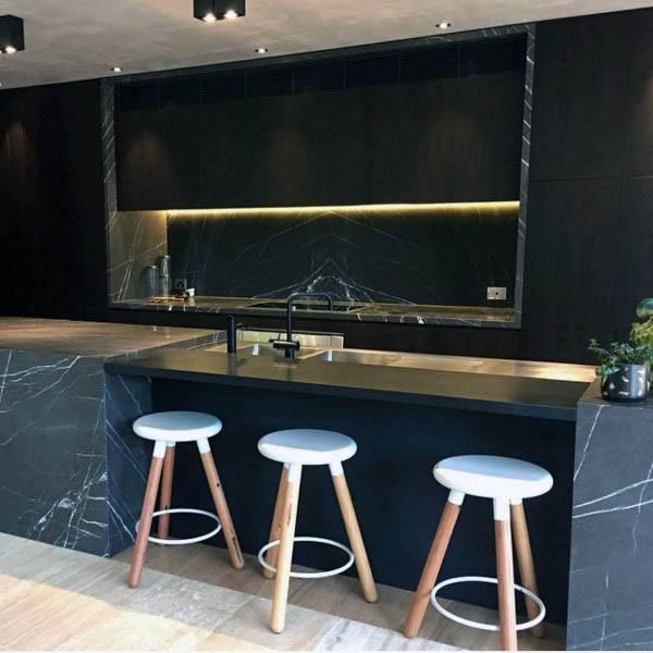 Modern Black Marble Kitchen Designs