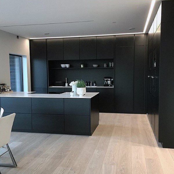 Modern Black Painted Kitchen Cabinet Design Ideas
