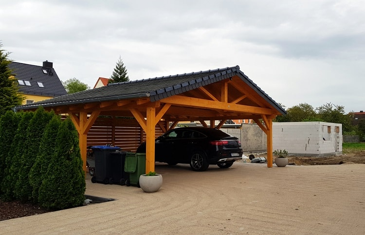 Modern Black Roof Carriage House Carport