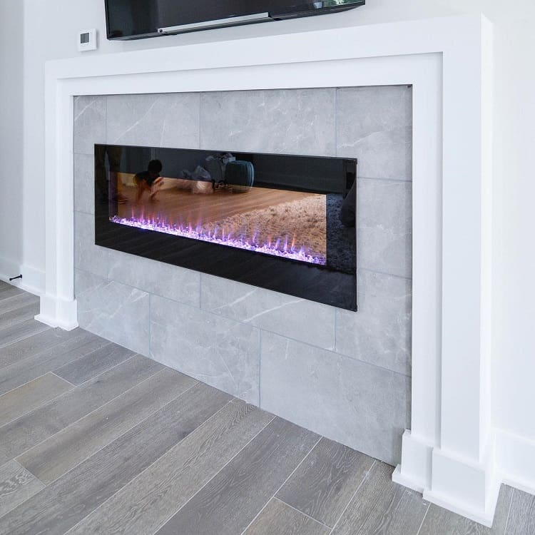 Modern Black Tile Fireplace Surround Ohsochicinteriors