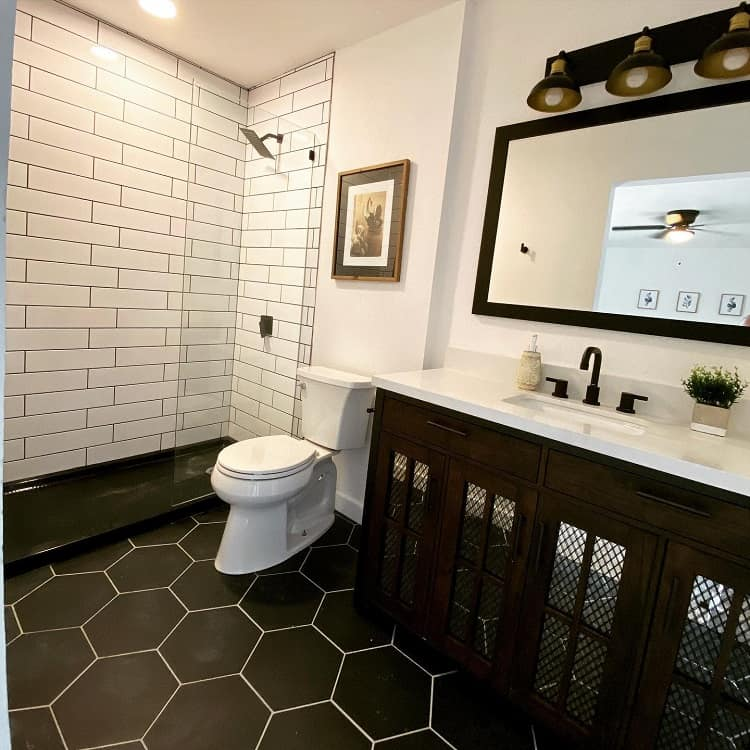 Modern Black White Farmhouse Bathroom Tile Keepaustinflippingweird