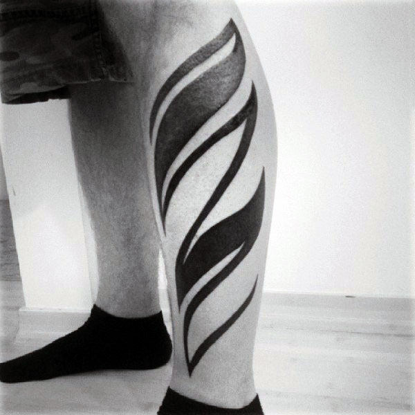 Modern Blackwork Tribal Male Tattoo Design Inspiration