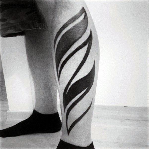 Modern Blackwork Tribal Male Tattoo Design Inspiration