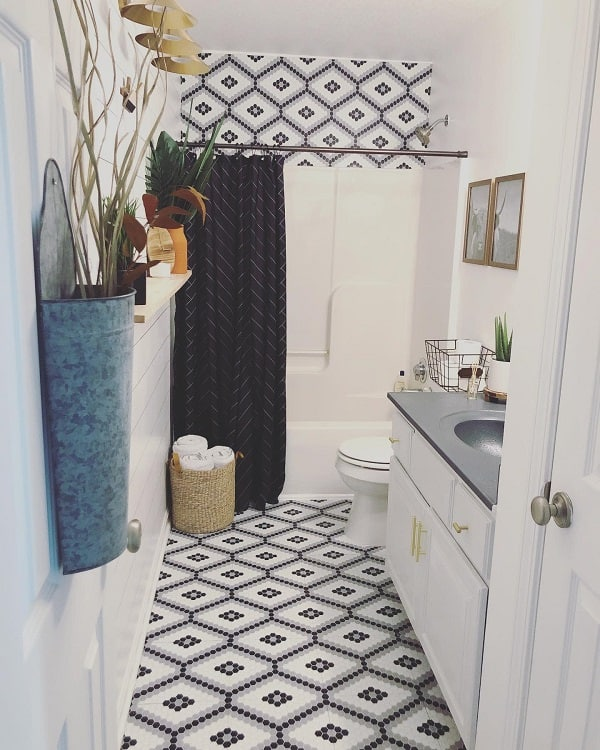 Modern Boho Farmhouse Bathroom Tile Perfectspaces Rachelletaylor
