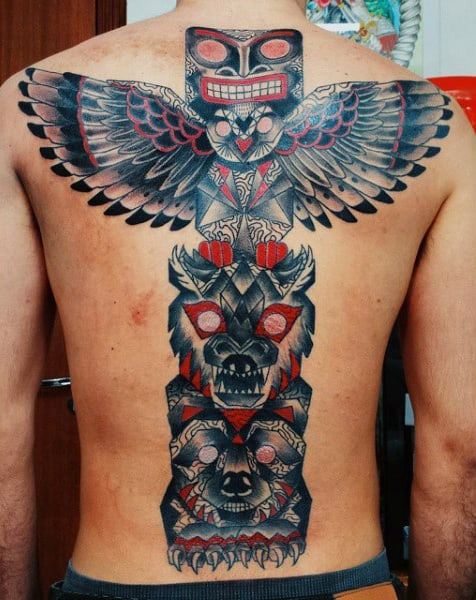 Modern Bold Totem Pole Back Piece Tattoo On Gentleman
