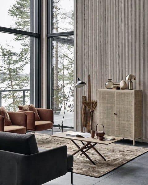 Modern Cabin Vertical Wood Boards Wall Ideas