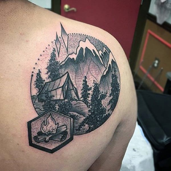 Modern Camping Scene Of Tend In Woods Back Tattoo On Man