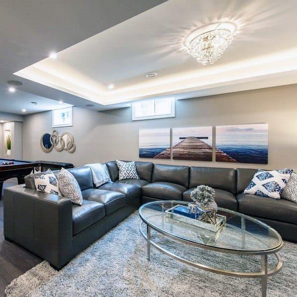 Contemporary Basement Design: Top 60 Best Basement Ceiling Ideas