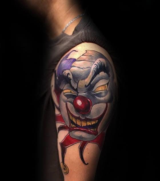 Modern Clown Head Mens Arm Tattoos