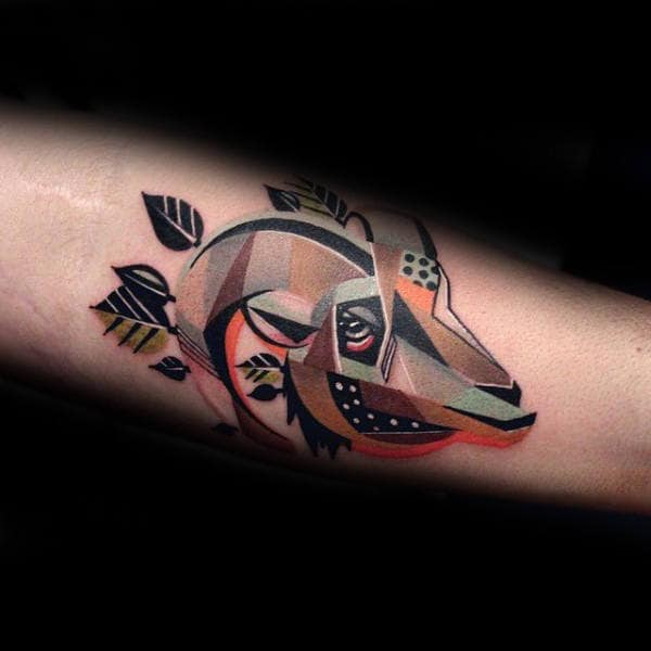 Modern Colorful Ram Male Tattoos On Inner Forearm