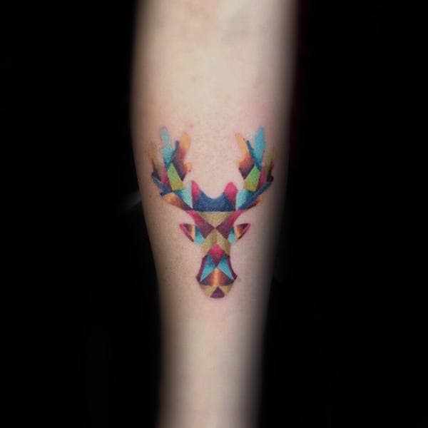 Modern Colorful Small Mens Arm Moose Tattoo Design