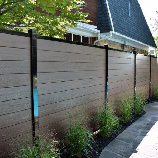 Modern Composite Privacy Fence Backyard Design