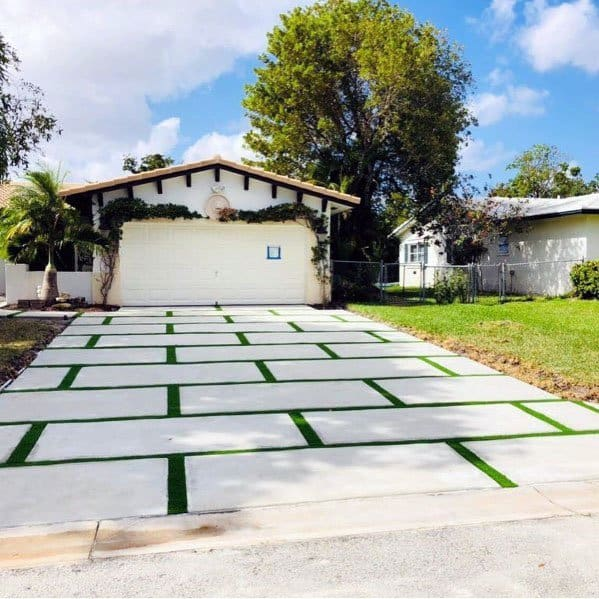 Modern Concrete And Grass Driveway Ideas For Small Homes
