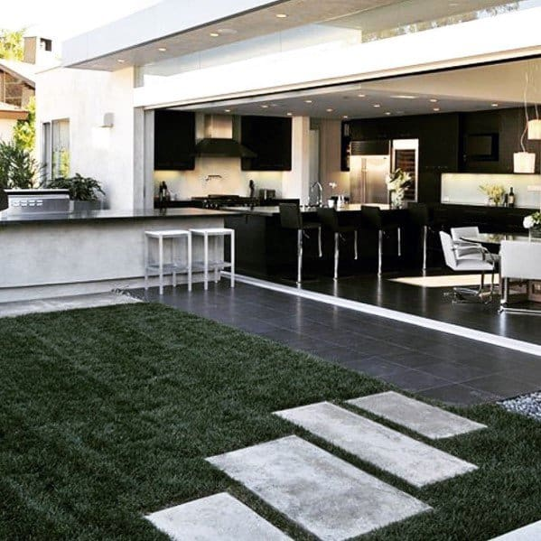 Modern Concrete Stepping Stone Backyard Landscape Ideas