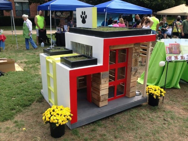 Modern Cool Dog Houses With Red And White Paint