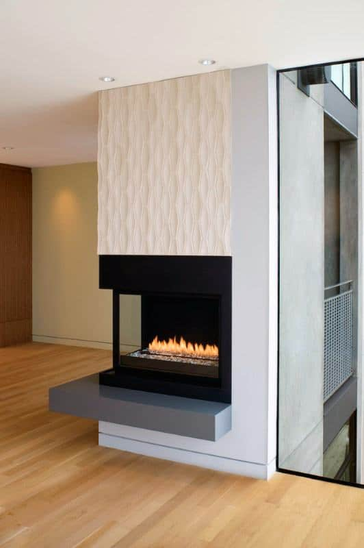 Modern Corner Fireplace Design Inspiration