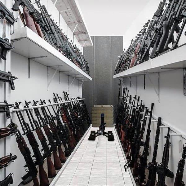 Modern Custom Gun Room With White Walls