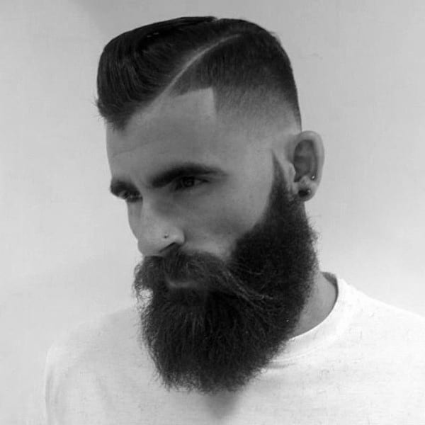 Modern Dapper Mens Low Fade Haircut With Beard